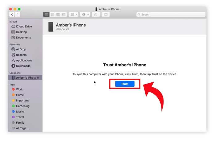 Cara backup iphone ipad macOS Catalina trust device